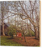 Red Barn In The Smokies Wood Print
