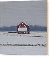 Red Barn In The Snow - Gettysburg Wood Print