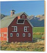 Dn5939-red Barn In The Wallowas Wood Print