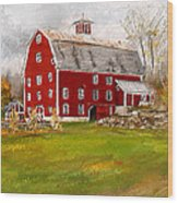 Red Barn In Woodstock Vermont- Red Barn Art Wood Print