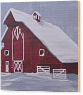Red Barn Wood Print by Kathy Weidner