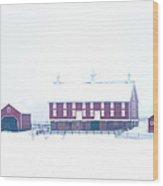 Red Barn On A Snowy Day - Gettysburg Wood Print by Bill Cannon