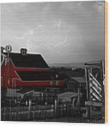 Red Barn On The Farm And Lightning Thunderstorm Bwsc Wood Print by James BO  Insogna