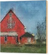 Red Barn Rear View Photo Art 03 Wood Print