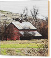 Red Barn Wood Print by Steve McKinzie