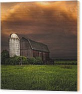 Red Barn Stormy Sky - Rustic Dreams Wood Print