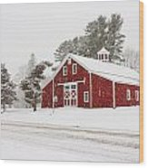 Red Barn Winterscape Wood Print