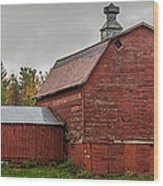 Red Barn With Fall Colors Wood Print