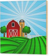 Red Barn With Grain Silo On Green Pasture Illustration Wood Print