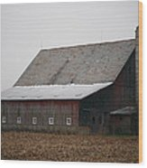 Red Barn With Medieval Silo  Wood Print
