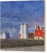 Red Barn With Silos Photo Art 02 Wood Print
