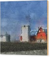 Red Barn With Silos Photo Art 03 Wood Print