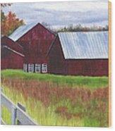 Red Barns At Freehold Wood Print
