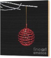 Red Bauble Wood Print