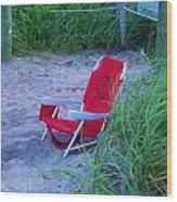 Red Beach Chair Wood Print