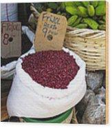 Red Beans At Nicaragua Market Wood Print