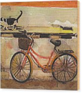 Red Bicycle And Cat Wood Print