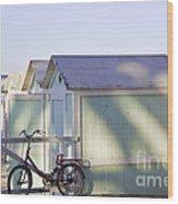 Red Bicycle At Mondello Beach Wood Print