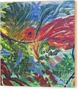 Red Bird In Nest Wood Print