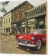 Red Bird On Main Street Wood Print
