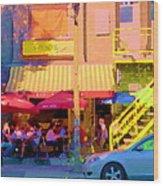 Red Bistro Umbrellas Cafe Cote Soleil Rue St Denis Yellow Staircase Montreal Scenes Carole Spandau Wood Print