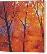 Red Blaze Wood Print by Nancy Merkle