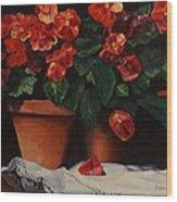 Red Bloom In Terracotta Wood Print