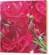 Red Blooms Wood Print