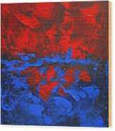 Red Blue Abstract Make It Happen By Chakramoon Wood Print