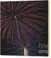 Red Blue Fireworks Wood Print