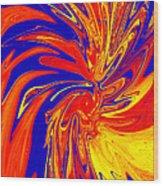 Red Blue Orange Red Yellow Swirl Wood Print