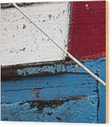 Red Blue White Wood Print