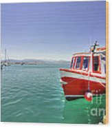 Red Boat At Nafplion Harbour Wood Print