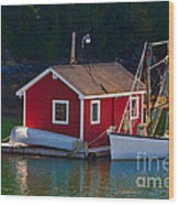Red Boat House Wood Print