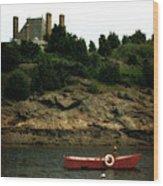 Red Boat In Newport Wood Print