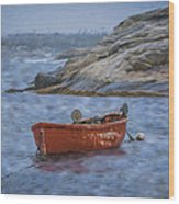 Red Boat In Peggy's Cove Wood Print
