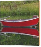 Red Boat Wood Print