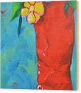 Red Boot With Flowers Wood Print