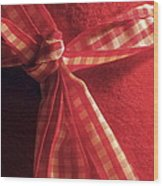 Red Bow Wood Print