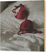 Red Brassiere Lay On Bed Wood Print