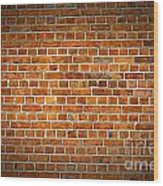 Red Brick Wall Texture With Vignette Wood Print