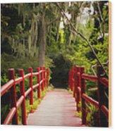 Red Bridge In Southern Plantation Wood Print