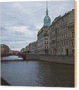 Red Bridge View - St. Petersburg - Russia Wood Print