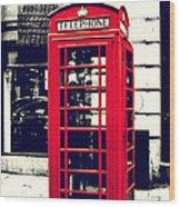 Red British Telephone Booth Wood Print