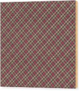 Red Brown And Green Diagonal Plaid Pattern Fabric Background Wood Print