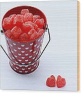Red Bucket Of Hearts Wood Print