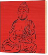 Red Buddha Wood Print