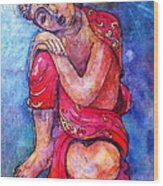 Red Buddha Resting Wood Print