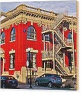 Red Building On Water Street In Saint John's-nl Wood Print