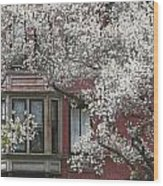 Red Building White Buds Wood Print